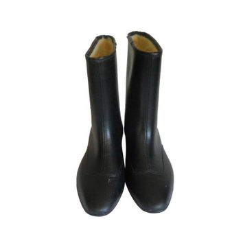 Vintage Women Rain Boot Waterproof Boot Women Rainboots Galoshes Women Rubber Boot Women Black Boot 8 Rubber Galoshes Wellies Winter Galosh
