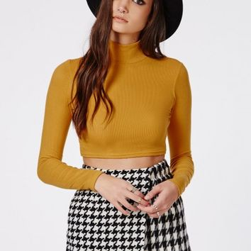 Missguided - Dharma Ribbed Turtle Neck Long Sleeve Crop Top Mustard