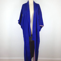 Vintage Silk Kimono / Blue Silk Robe /  Long Robe / 1960s Art Deco