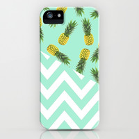 blue pineapple chevron iPhone & iPod Case by Hannah | Society6