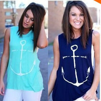 Women  Anchor Sleeveless Chiffon T-shirt