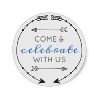 Editable Color Come & Celebrate With Us Classic Round Sticker