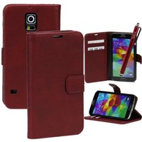 Galaxy S5 Case, XIANA Ordinary Smooth Flip Magnet Leather Case with Credit Card Slots and Stylus Suitable For Samsung Galaxy S5 I9600(Dark Red)
