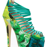 Green Strappy Water Colored Printed Heels