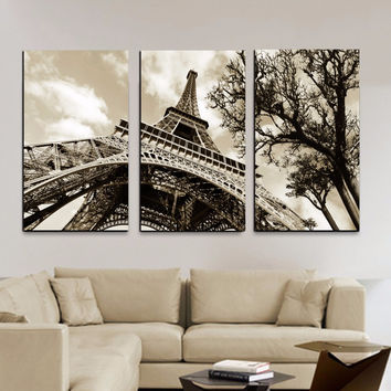 Wall art Canvas Painting Wall Pictures For Living Room Quadros Cuadros Modernos The Paintings Eiffel Tower Decoration No frame