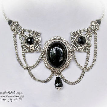 Silver Onyx Victorian Gothic Necklace/Choker-Victorian Gothic Jewelry-Silver Necklace with Onyx