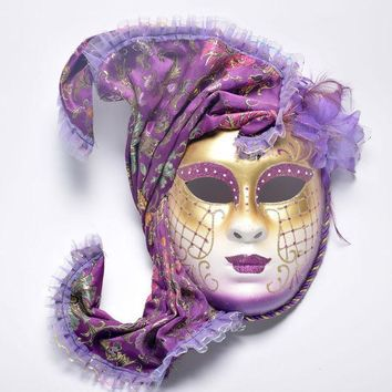 Halloween Masquerade Venice Antique Painting Flowers Full Face Party Show Female Mask