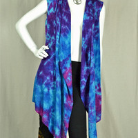 Purple Sky super soft rayon waterfall vest, Hippie clothes, Festival wear, Bohemian, plus size, beach cover-up