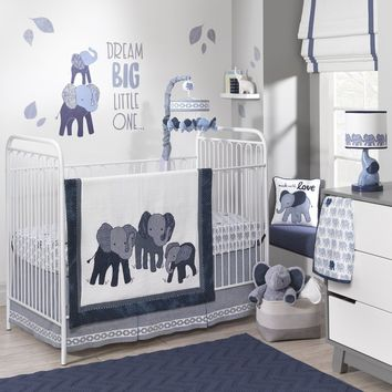 Lambs & Ivy 5 Piece Baby Nursery Crib Bedding Set Indigo with Bumper & Mobile
