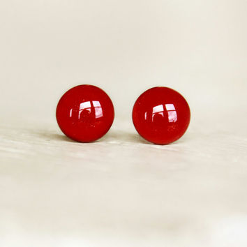 BAD APPLE  Deep Red Earrings Studs  Bad Apple Dark Red by EarSugar