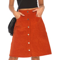 A Line Buttons Though Front Midi Loose Skirt Fall Orange Blue Velvet High Waist 2016 Autumn Women Casual Clothing