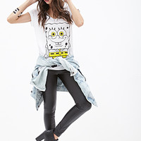 FOREVER 21 SpongeBob V-Neck Tee White/Black