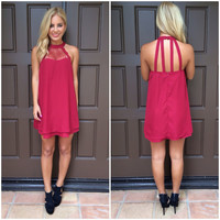 On Your Mind Lace Detailed Dress - BURGUNDY
