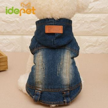 New Dog Denim Jacket Puppy Outfit Dog Coats Pet Clothes for Dog Spring Autumn Small Pet Clothing Fashion Chihuahua Hoodies 8A30Q