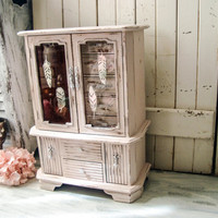 Blush Pink Vintage Musical Jewelry Box, Shabby Chic Pink Distressed Large Jewelry Holder with Feathers, Boho Jewelry Box, Pink Nursery Decor