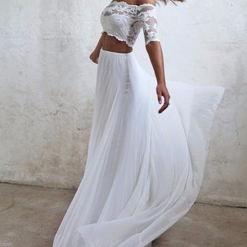 Seductive Lace 2 Two Piece Wedding Dresses Summer Chiffon Beach Wedding Dress 2017 Boho Cheap Bridal Gowns Casamento