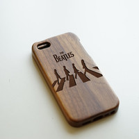 Beatles iPhone 5 Case, Engraved Wood iPhone 5 Case, Natural Walnut Wood iPhone 5s Case