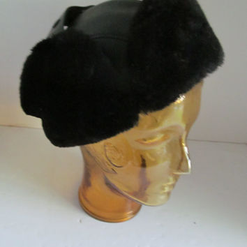 70s Vegan Black Winter Bomber Hat Winter Hat with Ear Flaps Mens Hat with Ear Muffs