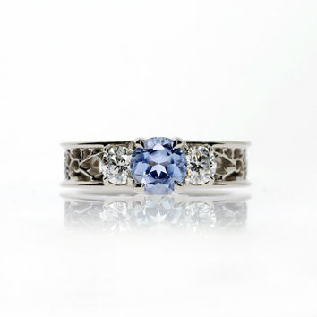 Light blue sapphire ring, diamond, filigree ring, engagement, lace, wedding ring, blue, sapphire engagement, diamond, unique engagement,