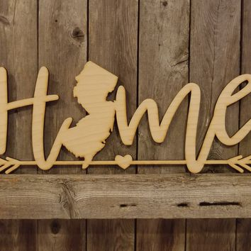 NJ New Jersey Home- laser cut wood sign