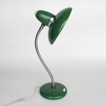 Vintage Gooseneck Table Lamp / Desk Lamp / Office Lamp / 50's 60's Mad Men Era Lighting / Avocado Green