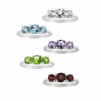 925 Silver 3-Stone Past Present Future Gemstone Ring - 5 Colors