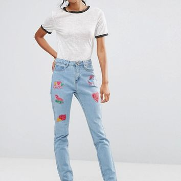 Liquor & Poker Tall Boyfriend Jeans With Badges at asos.com