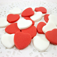 50 Valentine Day Fondant Hearts Cupcake Topper, Wedding Cake Topper, Edible Heart Topper, Red Sugar Heart, Valentine Party Gift, Candy Favor
