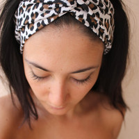 Cheetah print turban twist headband