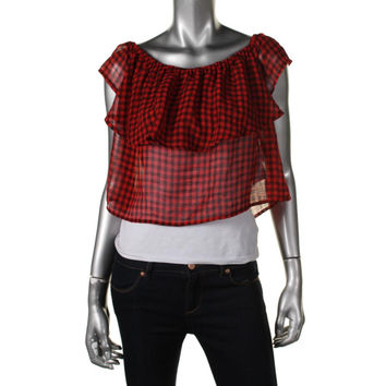 Guess Womens Plaid Sheer Crop Top