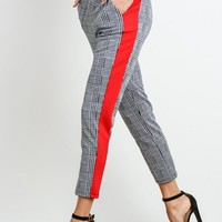Contrast Stripe Plaid Print Pants
