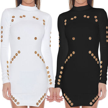 Long Sleeve Grommet Detail Bodycon Dress in Black or White