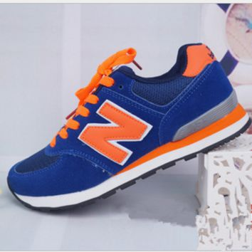 New balance abric is breathable n leisure sports shoes women's shoes Couples forrest gump students running Blue-orange