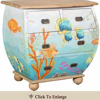 WATERFRONT BOMBE CHEST, HAND PAINTED TROPICAL SOMETHING FISHY MOTIF, OCEAN BLUE