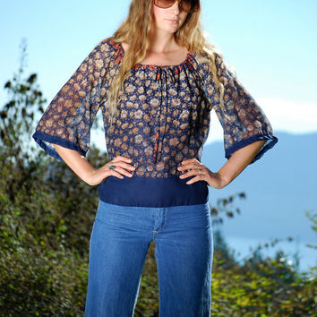 70s Peasant Blouse, ELISSA Of CALIFORNIA Blue Floral Hippie Top, Oversized Boho Top, Gauzy Cotton Tunic Top, Wide Sleeve Mexican Blouse