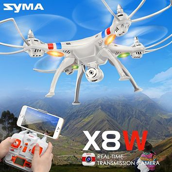 SYMA X8W Drone with WiFi Camera Real-time 2.4G 4CH 6 Axis Sharing Remote Control Quadcopter RTF RC Helicopter White Color