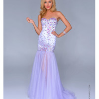Nina Canacci 2014 Prom Dresses - Lilac Satin & Tulle AB Stone Mermaid Prom Gown