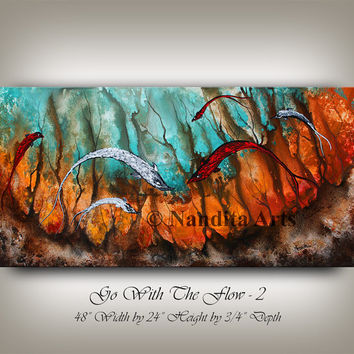 Seascape Koi fish painting LARGE ABSTRACT ART, large artwork paintings wall art on canvas by Artist Nandita Albright