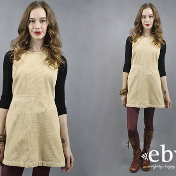 Cord Jumper Cord Dress Corduroy Dress Corduroy Jumper Cord Mini Dress 90s Mini Dress 1990s Dress 90s Dress 90s Jumper Beige Cord Dress S