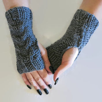 Fingerless Gloves, Knitted Gloves, Cable Knit Chunky Arm Warmers Fingerless Mittens, School Gloves, Dark Grey, Winter Wool Gloves Armwarmers