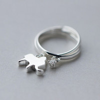 Simple Style Sterling Silver Elephant Rings Adjustable Tail Ring Gift-234