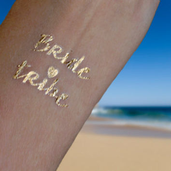 Gold Tattoos, Bachelorette Tattoos, 6 Metallic Gold Party Tattoo, Bride Tribe Tattoo, Party Pack
