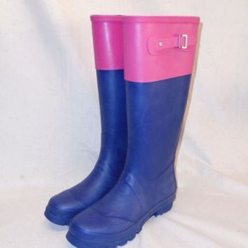 NEW Sociology Rumble Women's Color Block Print Navy Blue/Pink Rain Boots Size 8