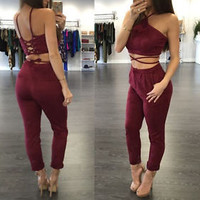 Women Suede Two Piece Set Lace up String Crop Top and Pants Rompers Jumpsuit