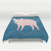 Geometric Pig Duvet Cover by mollykd