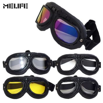 MELIFE Motorbike Motocross Helmet Pilot Goggles Jet Aviator Racing Goggle Cruiser Bike UV Protection Ski glasses For unisex