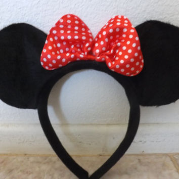 Minnie Mouse Ears Headband Black with red polka dot Bow Infant size