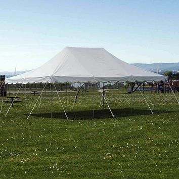 20x30' Pole Tent Commercial Waterproof Party, Wedding, Outdoor, White Vinyl Canopy
