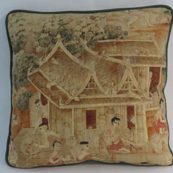 "Spinning Wheel Scene Pillow, Jims Dream, Thai Pictorial, Jim Thompson Fabric, Coral Brown Gold Beige, 17"" Linen, Feather Insert (A)"