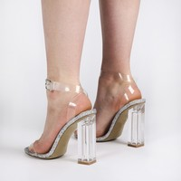 Alia Strappy Perspex High Heels in Clear Glitter